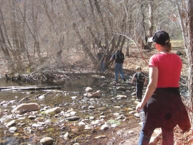 People Crossing the Creek