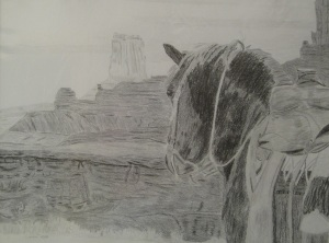 Drawing of Horse at Monument Valley