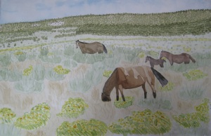 Painting of Horses on the Reservation