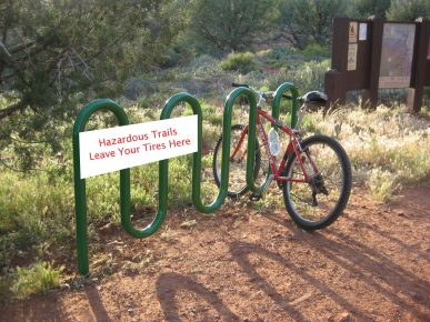 Hazardous Trails Sign on Bike Rack