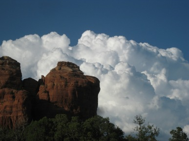 Thundercloud behind Coffee Pot Rock