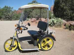 Golf cart parked at the trail head