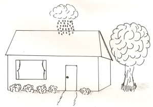 Small cloud raining on one spot on a house