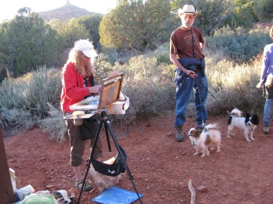Plein Air Artist with Two Dogs Watching