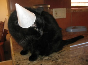 Scratchy wearing a cone hat