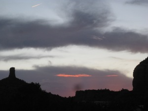 Sedona Sunset with Jet Trail
