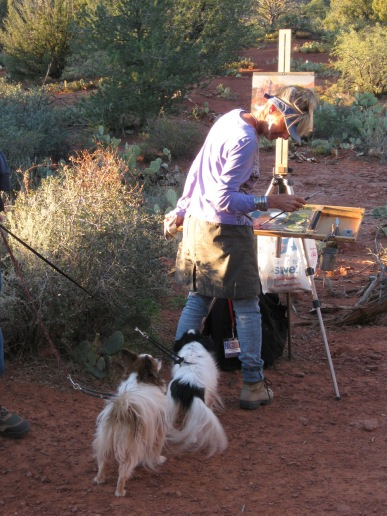 Two Dogs with Plein Air Artist