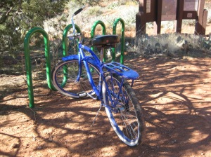 Bike next to a bike rack