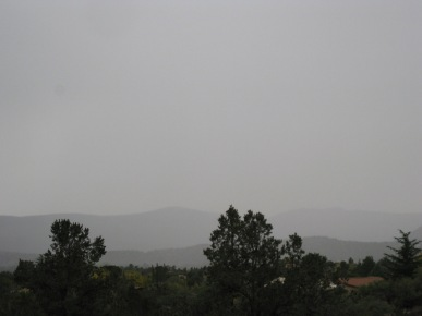 Faint hills in the background