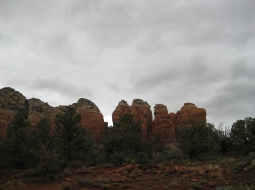 Cloudy Sky and Red Rocks