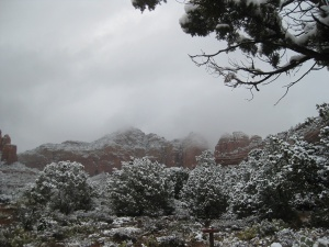 Red Rocks in snow and clouds