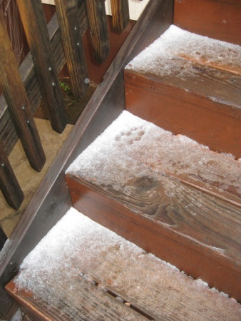 Hail on the stairs
