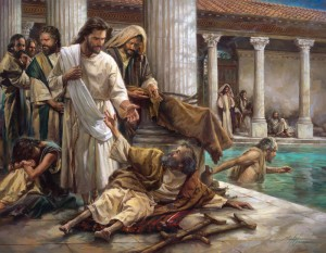 Jesus healing at the Pool of Bethesda