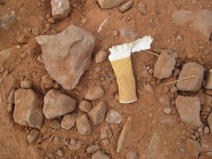 cigarette butt on the trail