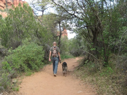 Bongo and his younger person heading down the trail