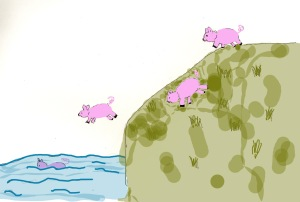 Drawing of pink pigs jumping off a cliff