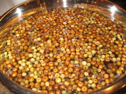 Berries soaking in a bowl