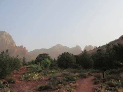 Sedona Red Rocks behind smoke