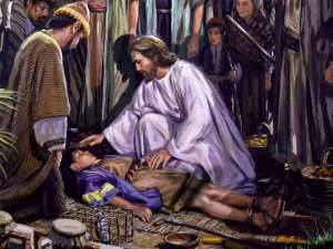 Jesus heals boy with evil spirit