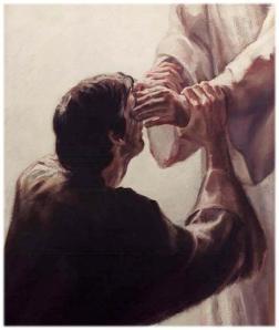 Jesus healing a blind man