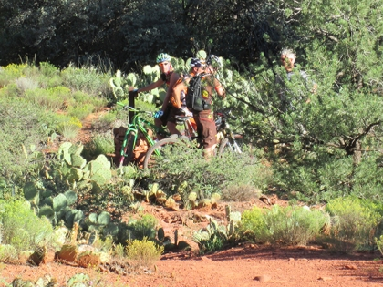 Mountain bikers stopped on the trail