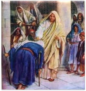 Jesus healing the crippled woman