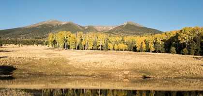 fall aspens, mountains, and a pond