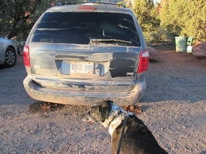 Bongo near vehicle covered with mud