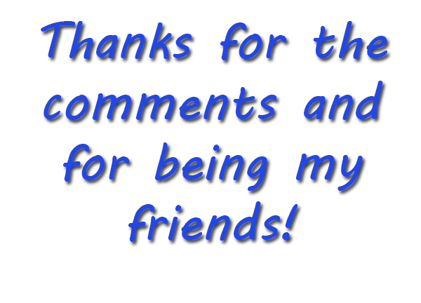 Thanks for the comments and for being my friends!