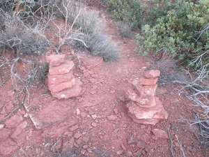 Two Rock Piles marking a trail