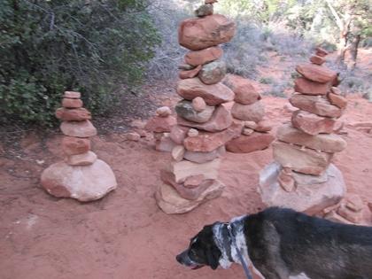 Tall piles of rocks