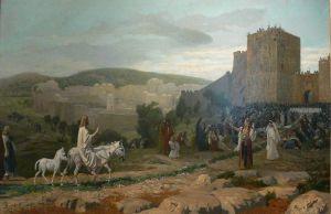Jesus riding a donkey into Jerusalem