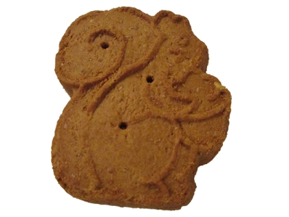 Dog treat shaped like a squirrel