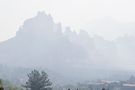 Sedona rocks covered in smoke