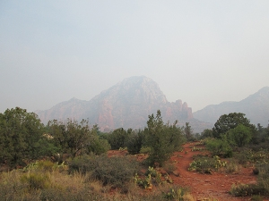 Thunder Mountain behind smoke
