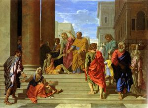 http://commons.wikimedia.org/wiki/File%3ASaint_Pierre_et_saint_Jean_gu%C3%A9rissant_le_boiteux_-_Poussin_-_Metropolitan.jpg