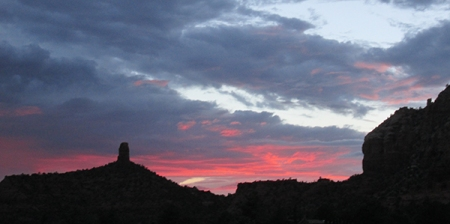 Sunset behind Chimney Rock