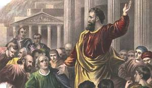 Peter preaching in the temple courts