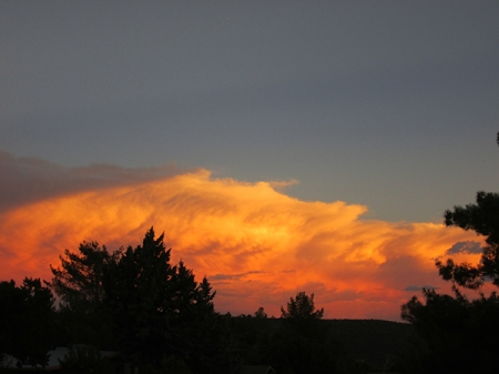 Bright orange clouds in the sunset