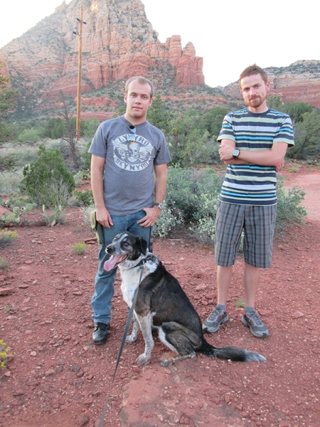 Bongo on the trail with two guys