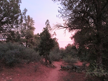 Sunset turning the trail pink